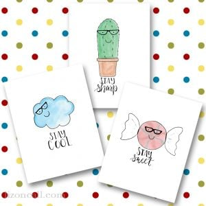 A fun set of 3 whimsical printables - hand lettered and watercolored available at lizoncall.com