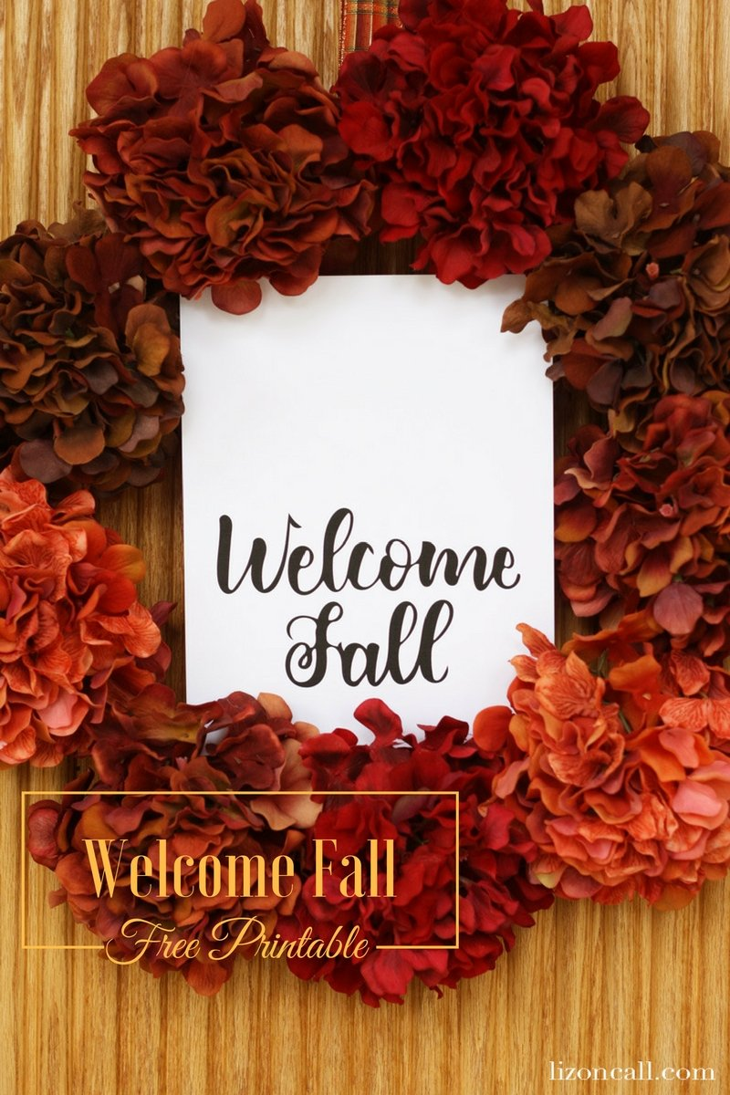 Hand lettered welcome fall free printable.