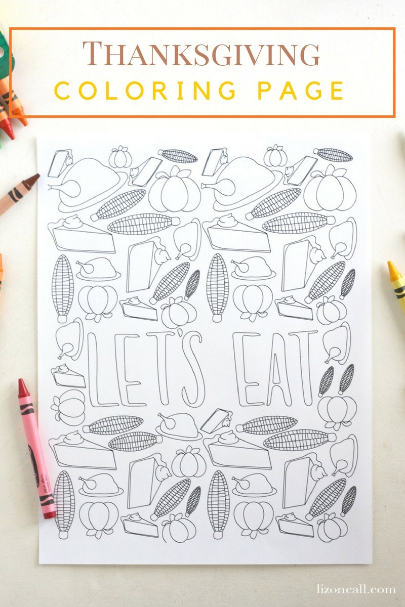 Set the kids table this Thanksgiving with this free printable Thanksgiving coloring page.  Get them excited about all the yummy food they get to enjoy.