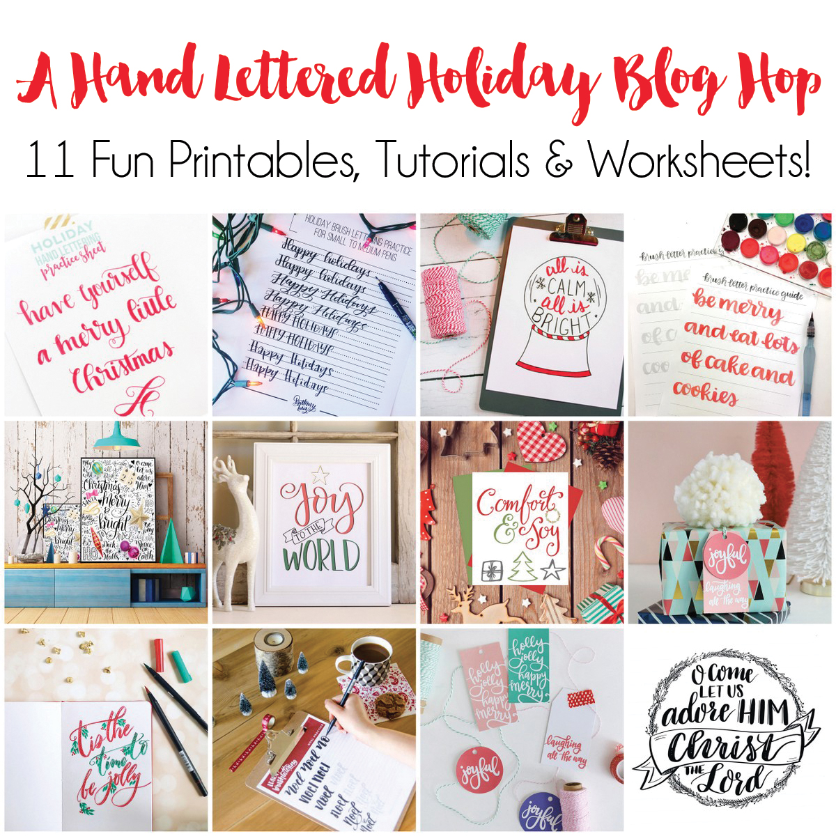Hand lettered holiday blog hop with 11 hand lettered tutorials, prints, and practice sheets.