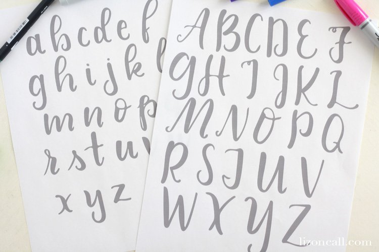 Free printable brush lettering practice sheets - handlettering practice sheets