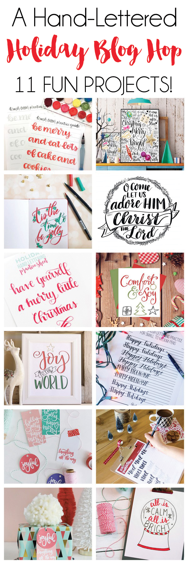 A hand lettered holiday blog hop with 11 hand lettered printables, tutorials and practice sheets.