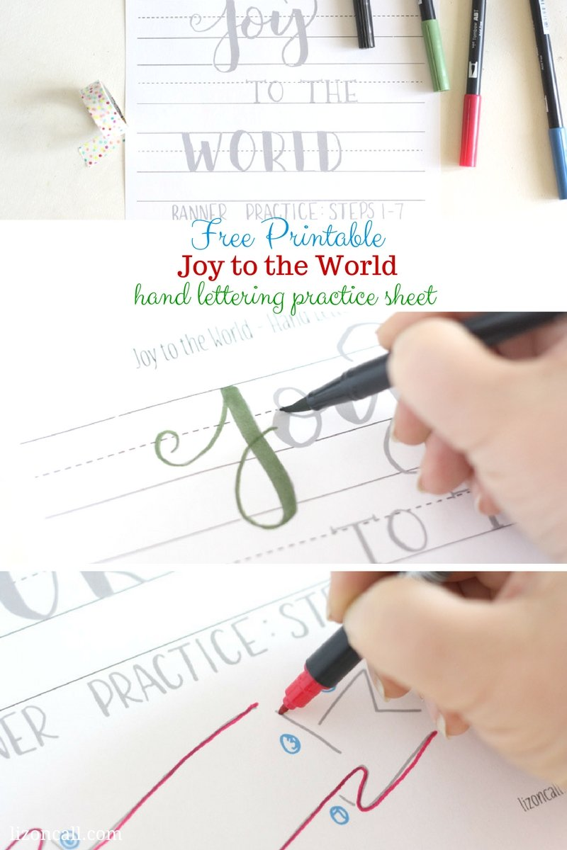This free printable hand lettering practice sheet will get you in the Christmas spirit. Joy to the World hand lettering practice sheet.