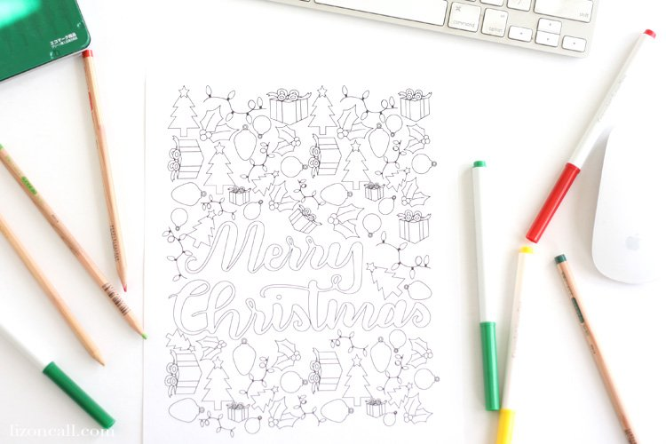 Keep your kids entertained this holiday season with this free printable Christmas coloring page.