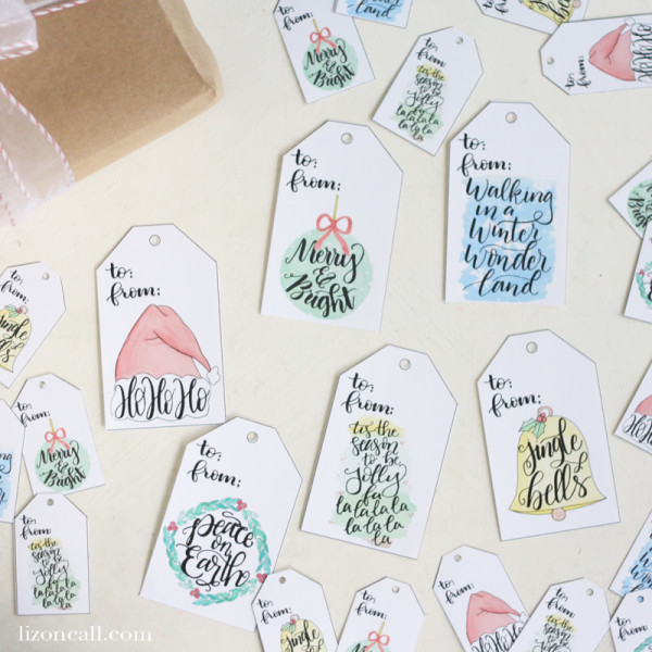 Hand lettered watercolor Christmas gift tags with 6 designs and 2 sizes in an instant download