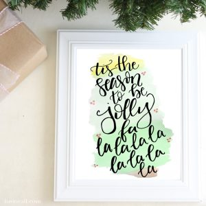 Watercolor Christmas Printable - Tis the season Christmas print