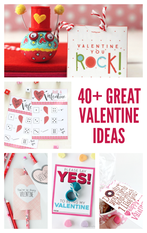 40 + great valentine ideas.  Simple valentine gift ideas, and easy valentine home decor projects.