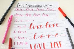 Handlettering Practice Sheets for Valentine's Day