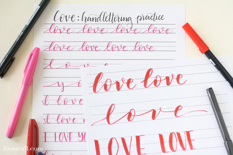 Handlettering practice sheets for valentines day liz on call