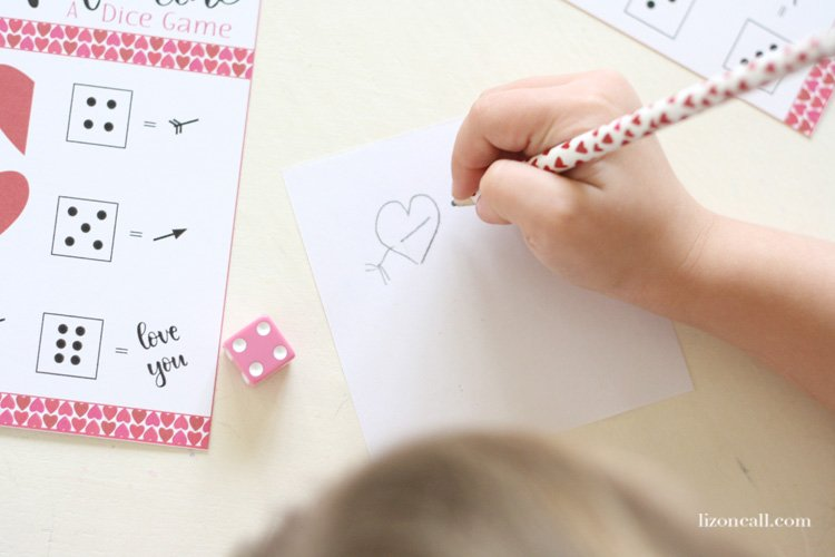 Print out this roll a Valentine dice game for a fun afternoon activity with the kids. It would also be a great game for a Valentine's class party.