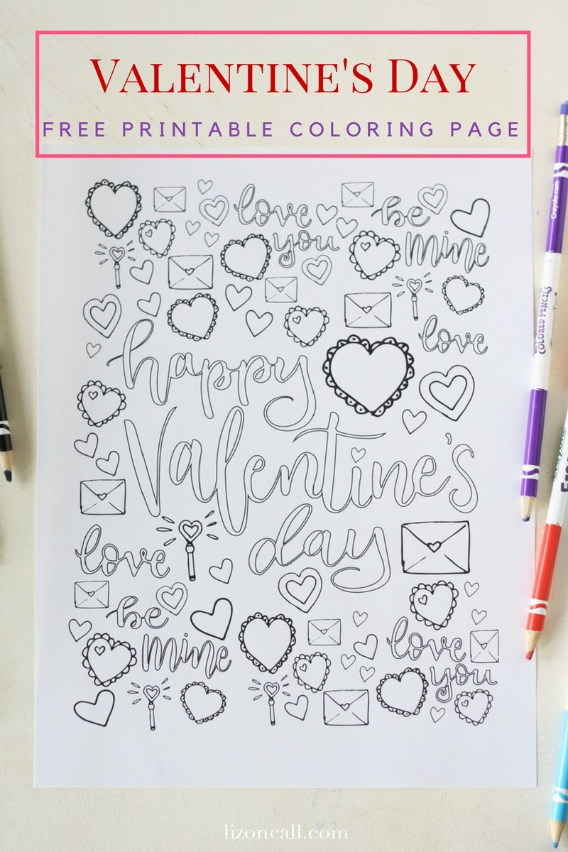 This free printable Valentine's Coloring Page is fun for kids, adults, classrooms or valentine's parties.