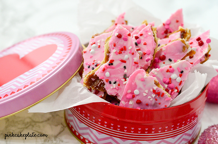 A Valentine's twist to saltine toffee recipe. Perfect gift for teachers, neighbors and friends for Valentine's Day. An easy Valentine's Day treat.