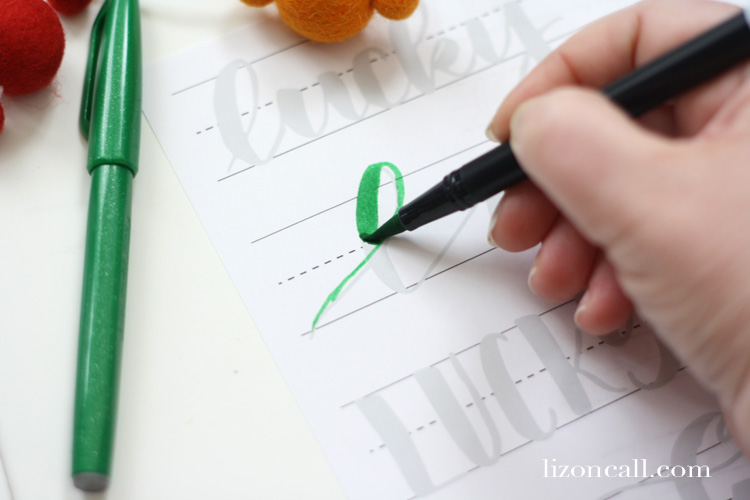 If you're feeling lucky and want to try your hand at hand lettering, print out these St. Patrick's Day hand lettering practice sheets with different ways to write the word lucky.