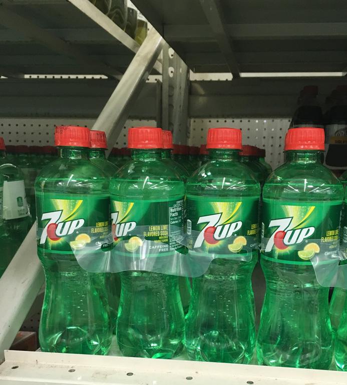 plastic bottles of 7Up soda pop