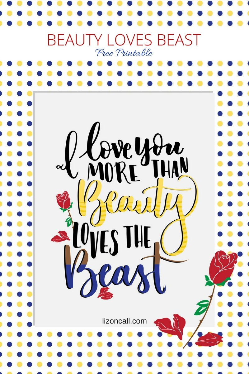 Disney princess fans will love this Beauty and the Beast printable. Download this hand lettered printable for free.