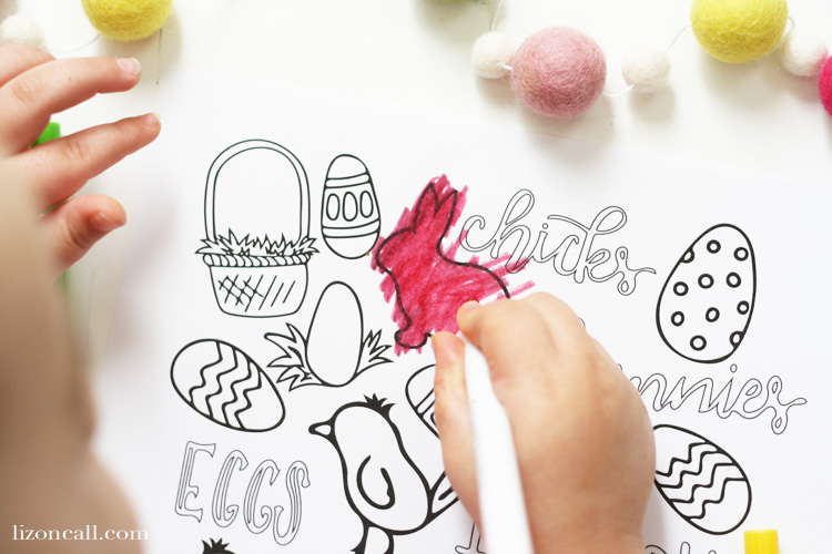 Spend some quality time with your littles this Easter and together color this Easter coloring page.