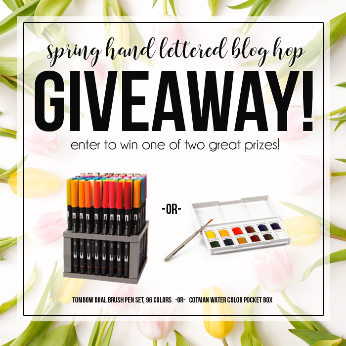Hand lettered blog hop giveaway