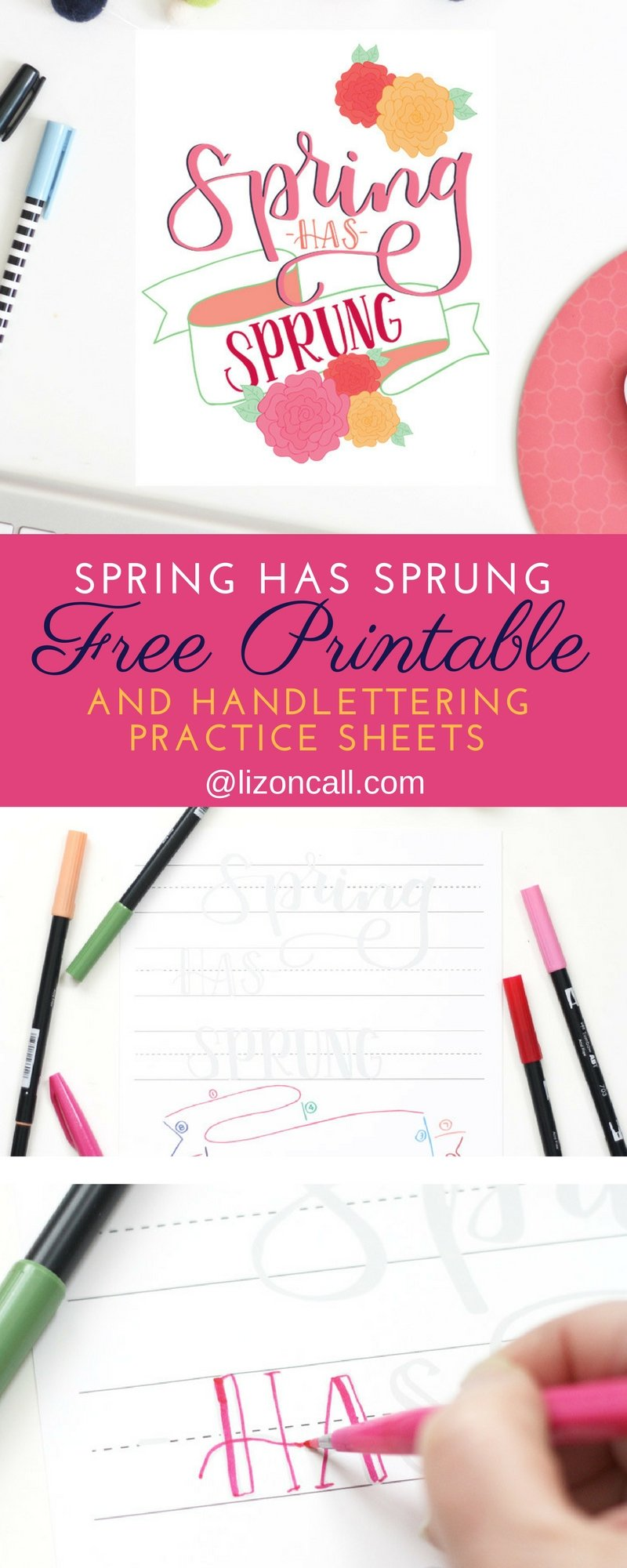 spring hand lettering practice sheet and printable liz on call
