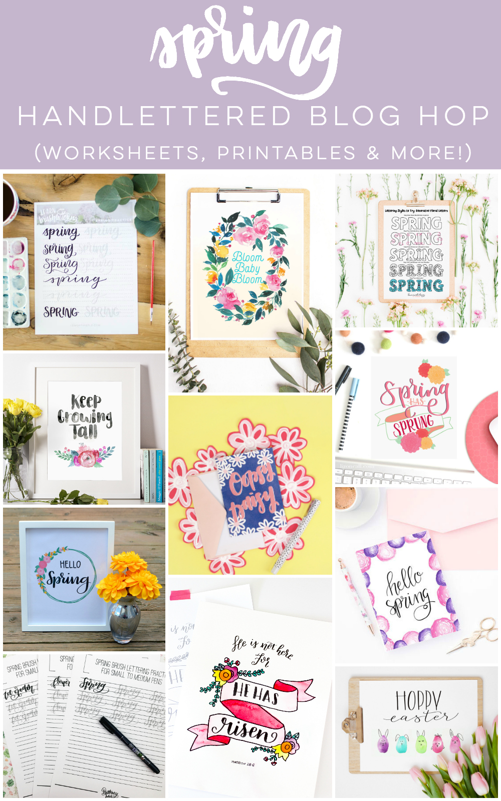 Spring hand lettered blog hop with lots of free printable hand lettering work sheets and prints.