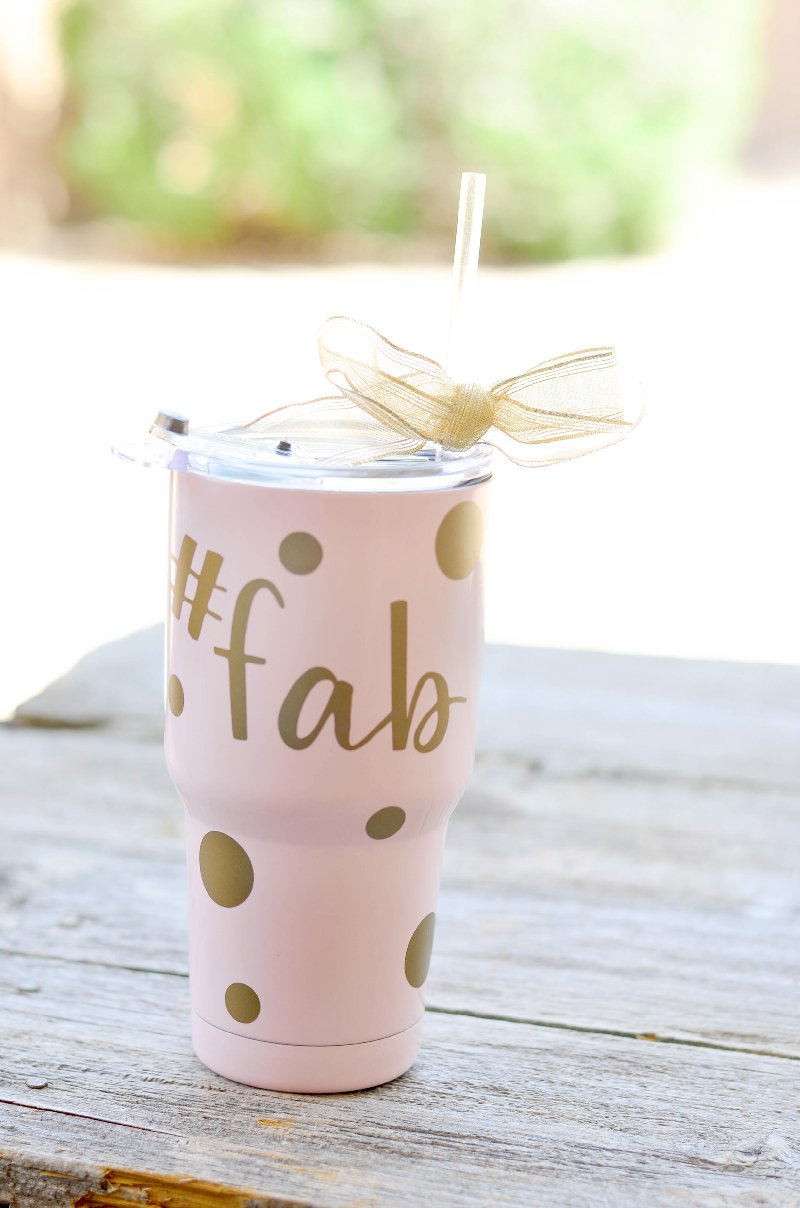 Personalized Yeti Tumbler with gold vinyl. @pinkcakeplate