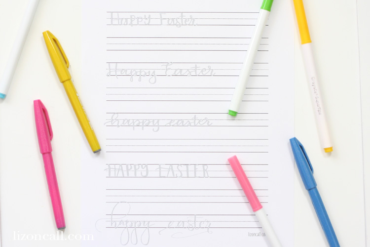 Get ready to send a hand lettered Easter greeting card to your family and friends this year with this Easter hand lettering practice sheet.