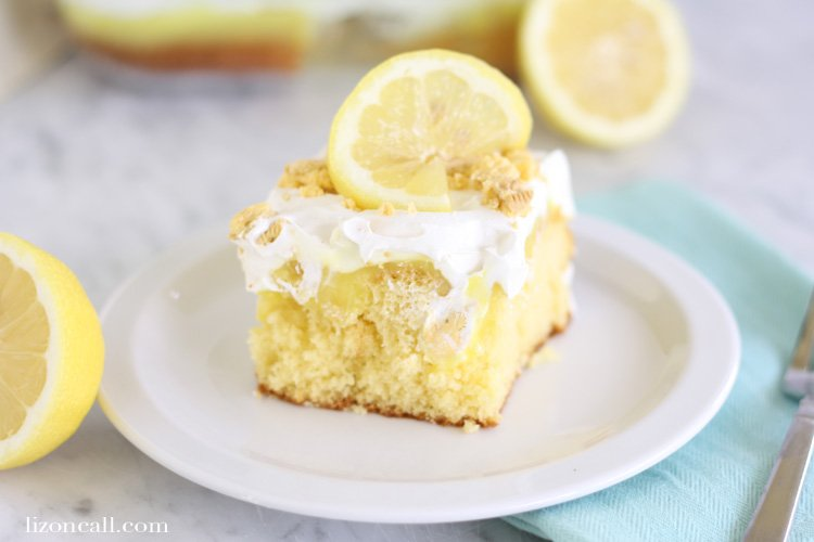 This lemon poke cake is a cool refreshing cake that's perfect for spring and summer get togethers.