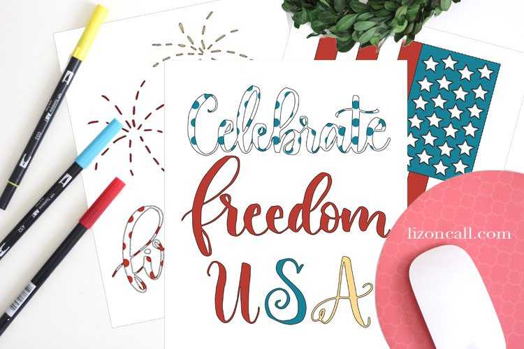 This free patriotic coloring book is 15 minutes of red, white and blue fun perfect for either Memorial Day or 4th of July entertaining.