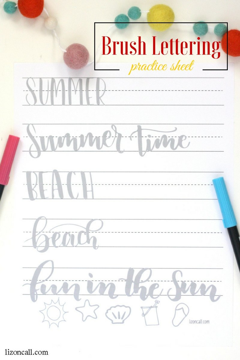 Practice your hand lettering while the kids are at the pool with this summer brush lettering practice sheet.