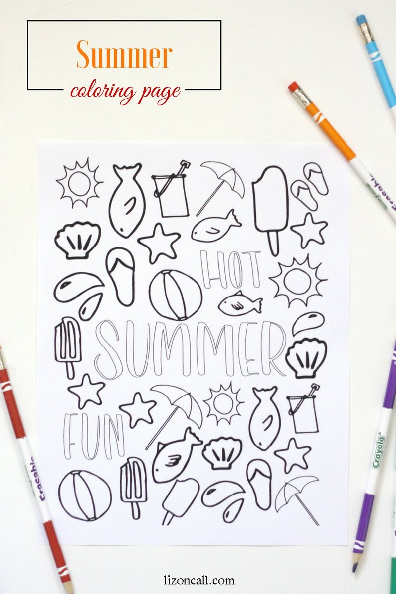 summer coloring page liz on call