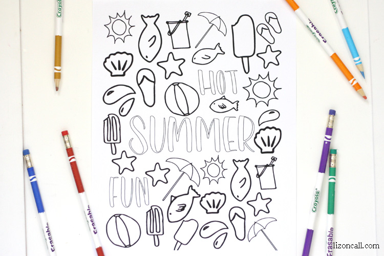 this free printable summer coloring page is a great summer boredom buster for the kids and - Summer Coloring Page