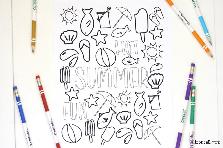 This free printable summer coloring page is a great summer boredom buster for the kids and adults too!