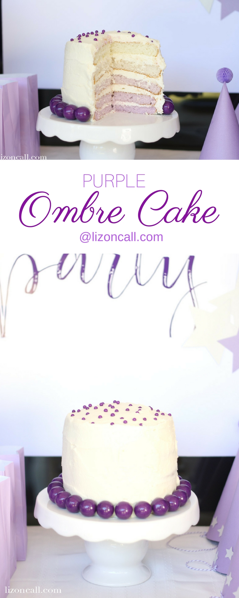 This purple ombre cake is easy to make, has a delicious buttercream frosting, and was a hit at our purple birthday party!