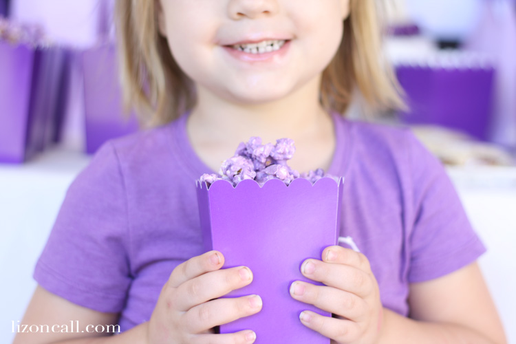 I don't know anyone who can stop eating this purple popcorn. It's a great party treat that can be customized any color to match your party.