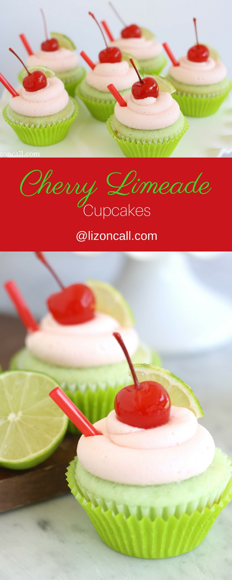 If you love cherry limeades, you'll love these cherry limeade cupcakes. Your favorite drink in cupcake form!