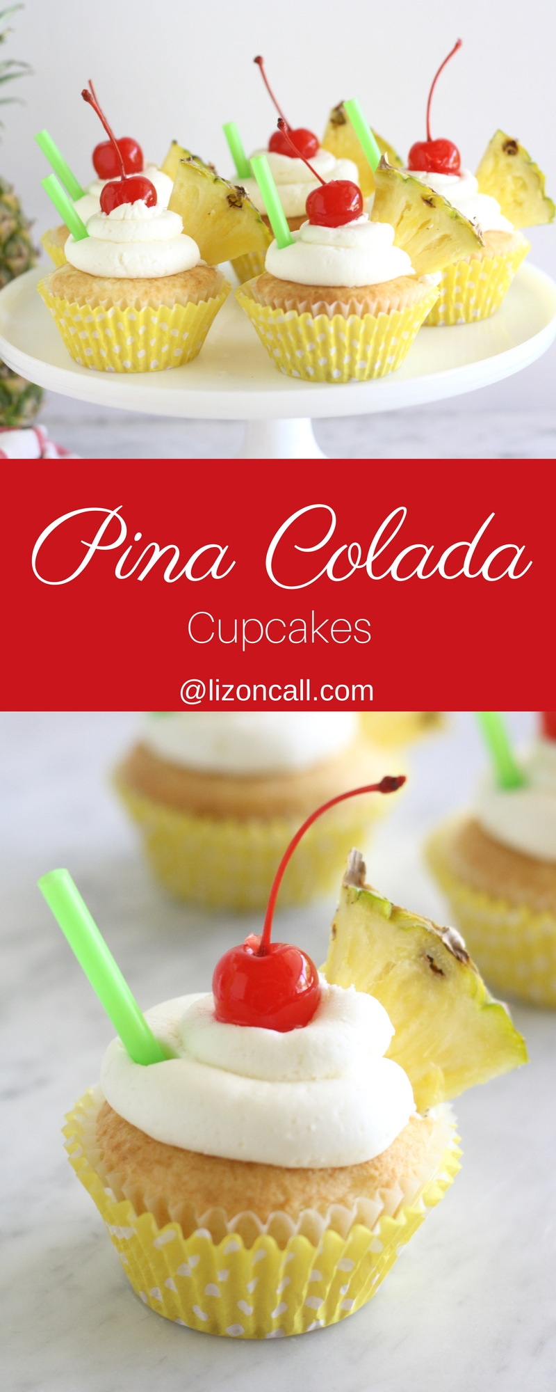 Make your favorite poolside drink into a tasty treat and whip up a batch of these pina colada cupcakes.