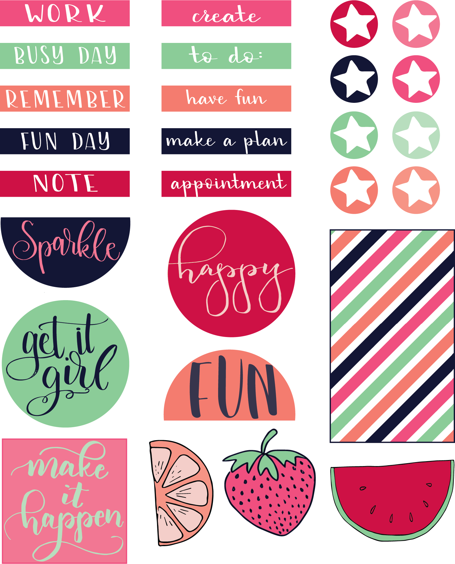 This is a graphic of Mesmerizing Planner Printable Stickers