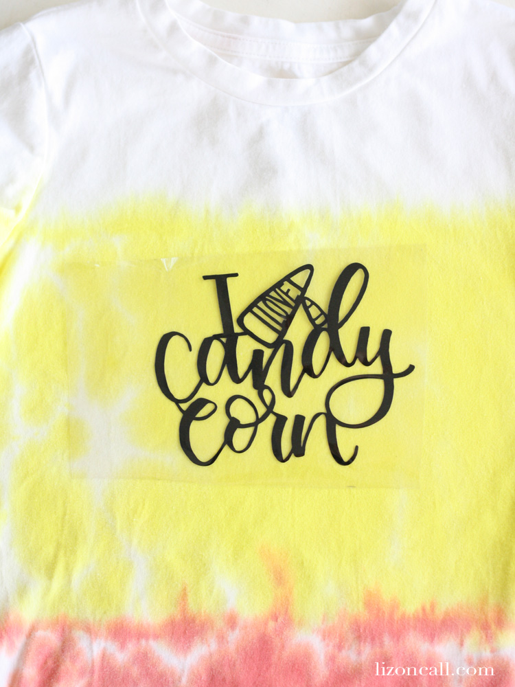Make this easy candy corn tie dye shirt for your Halloween celebrations.
