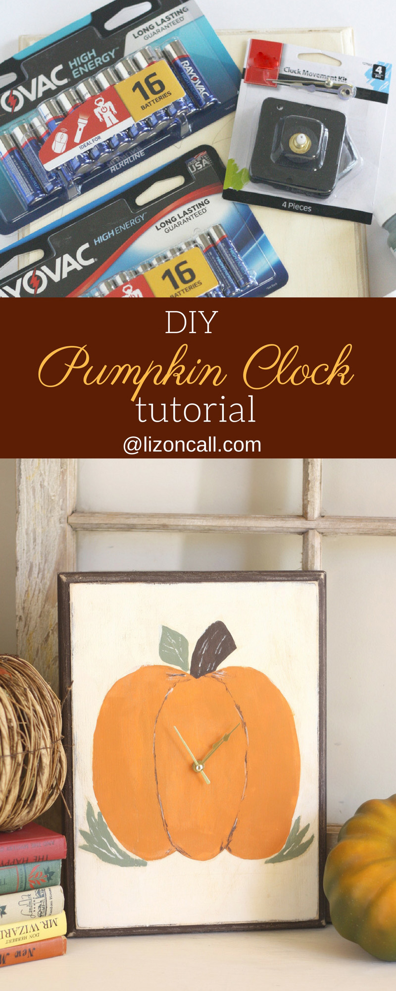 Add some fun to your fall decor and make your own DIY pumpkin clock using items found at Walmart. #PoweredByRayovac #SureThing #CollectiveBias #ad