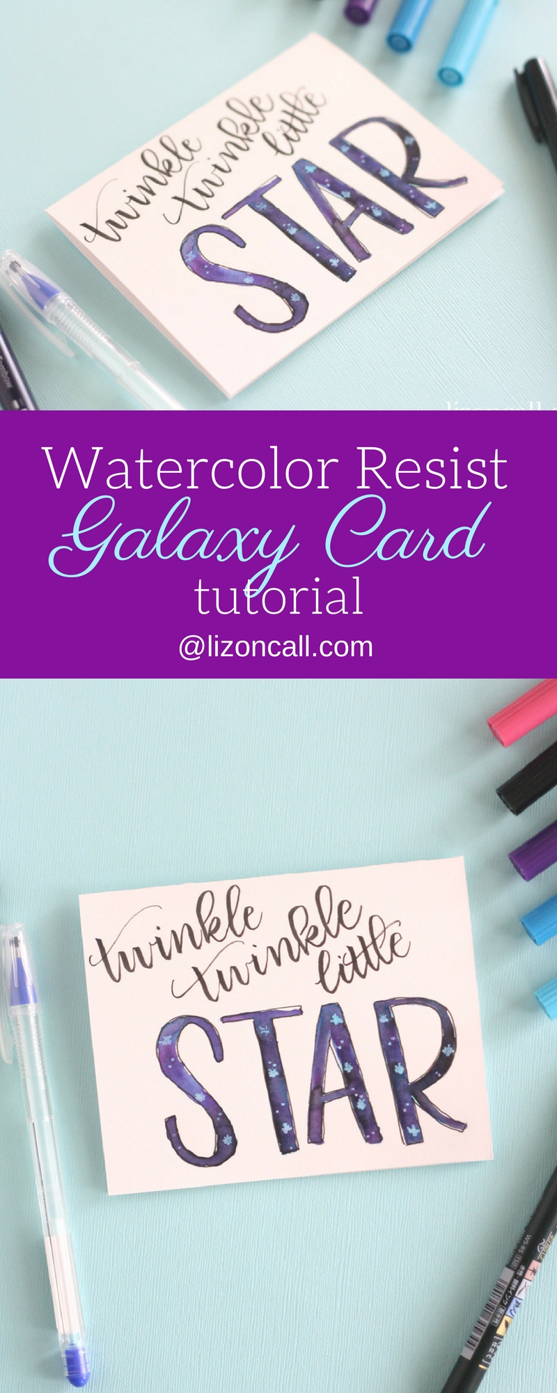 Learn how to create this watercolor resist galaxy card without using any watercolors. It'll be the perfect addition to your gift for a new mom.