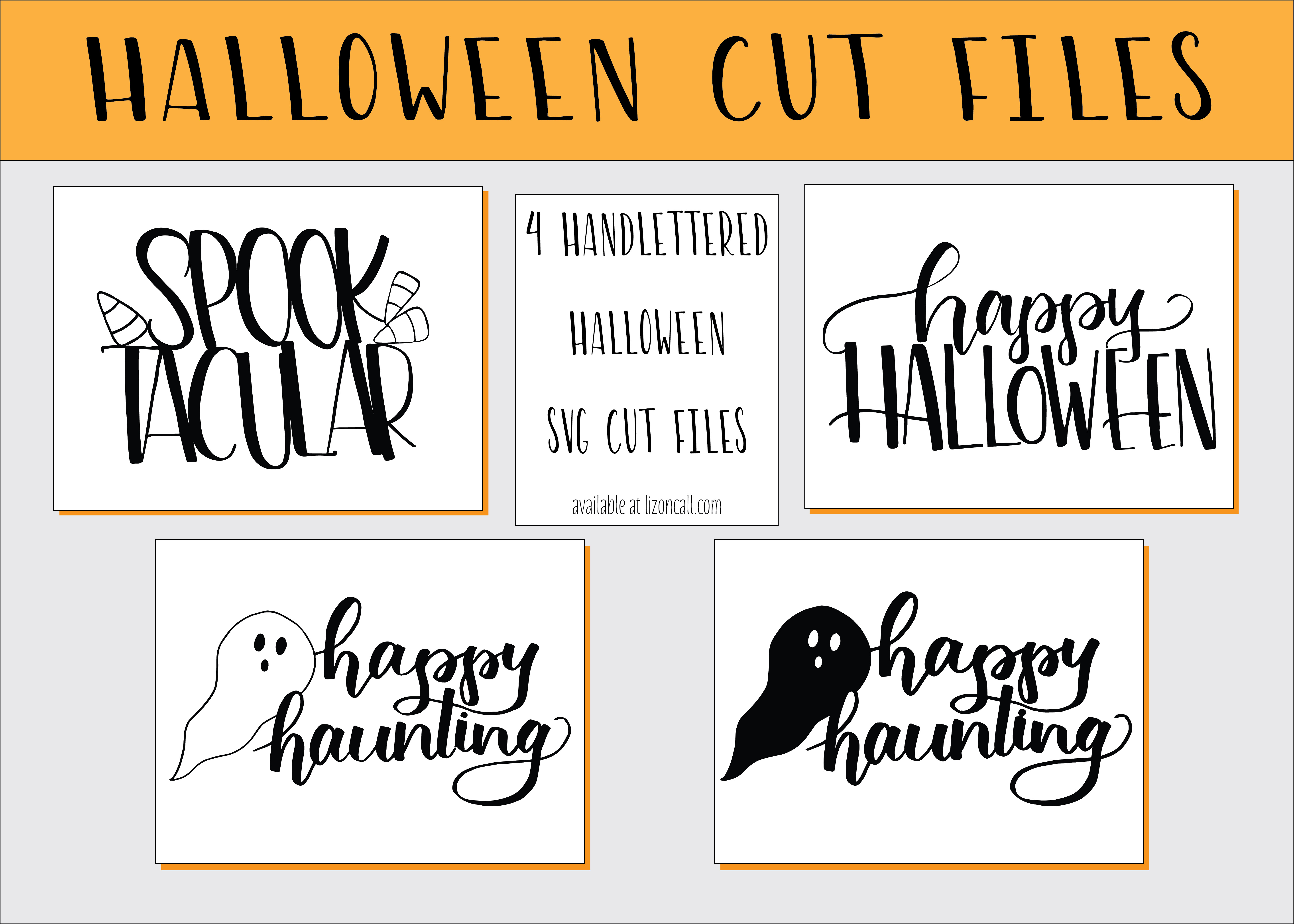 Handlettered halloween cut files for the halloween craft lover. Halloween SVG files available at lizoncall.com