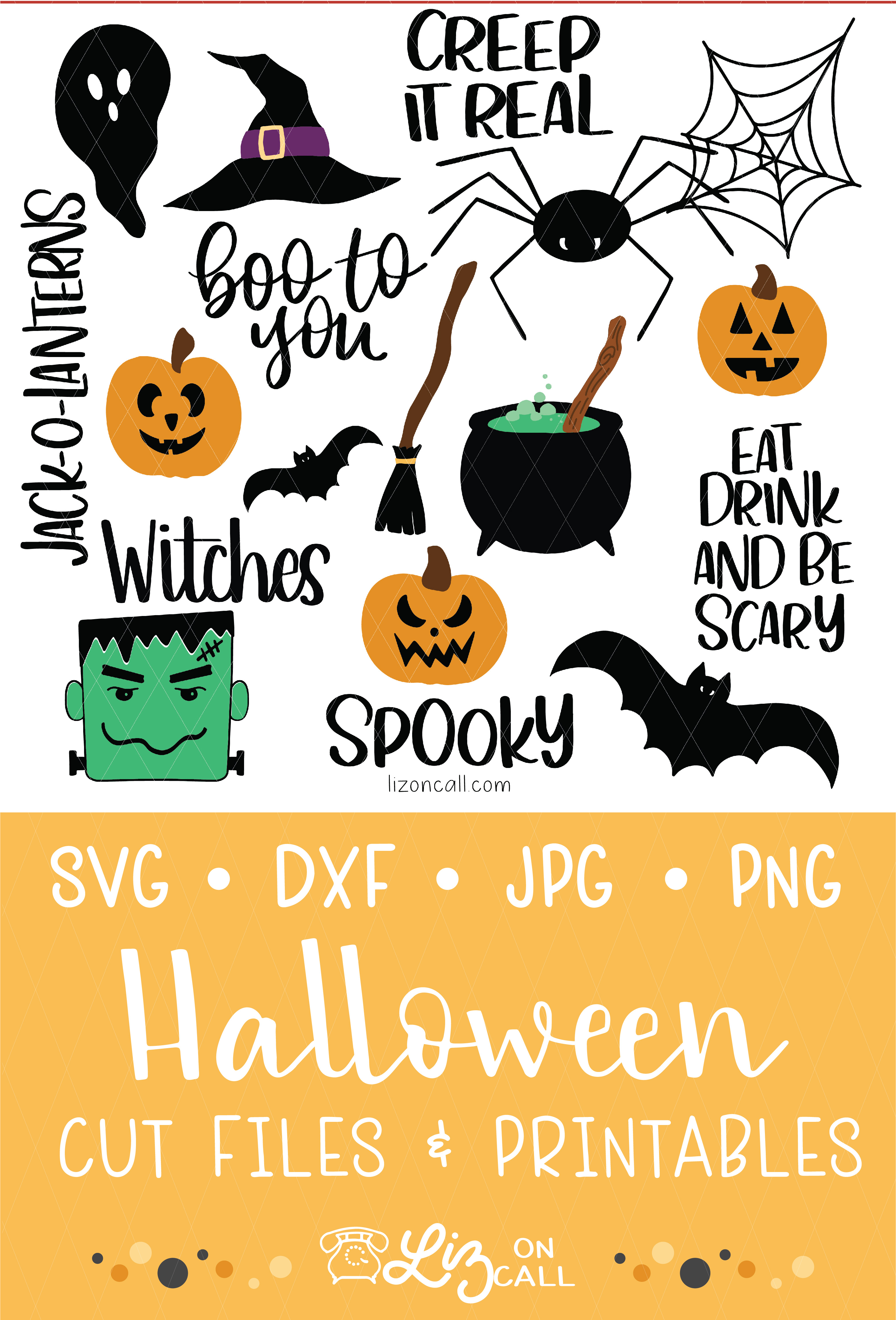 titled image of halloween doodle svg files