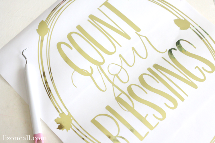 This adhesive gold foil was a great medium to create a temporary count your blessings wall art wreath for my wall during the holidays.
