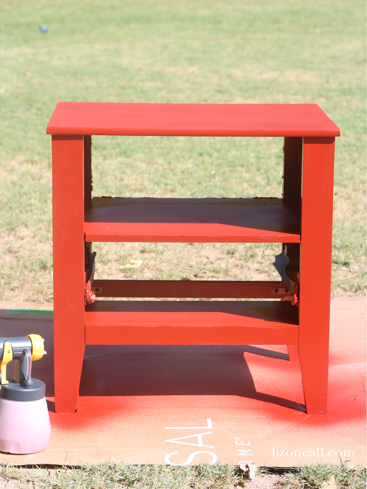 A paint sprayer made all the difference in making this nightstand makeover an easy project my son and I could do together.