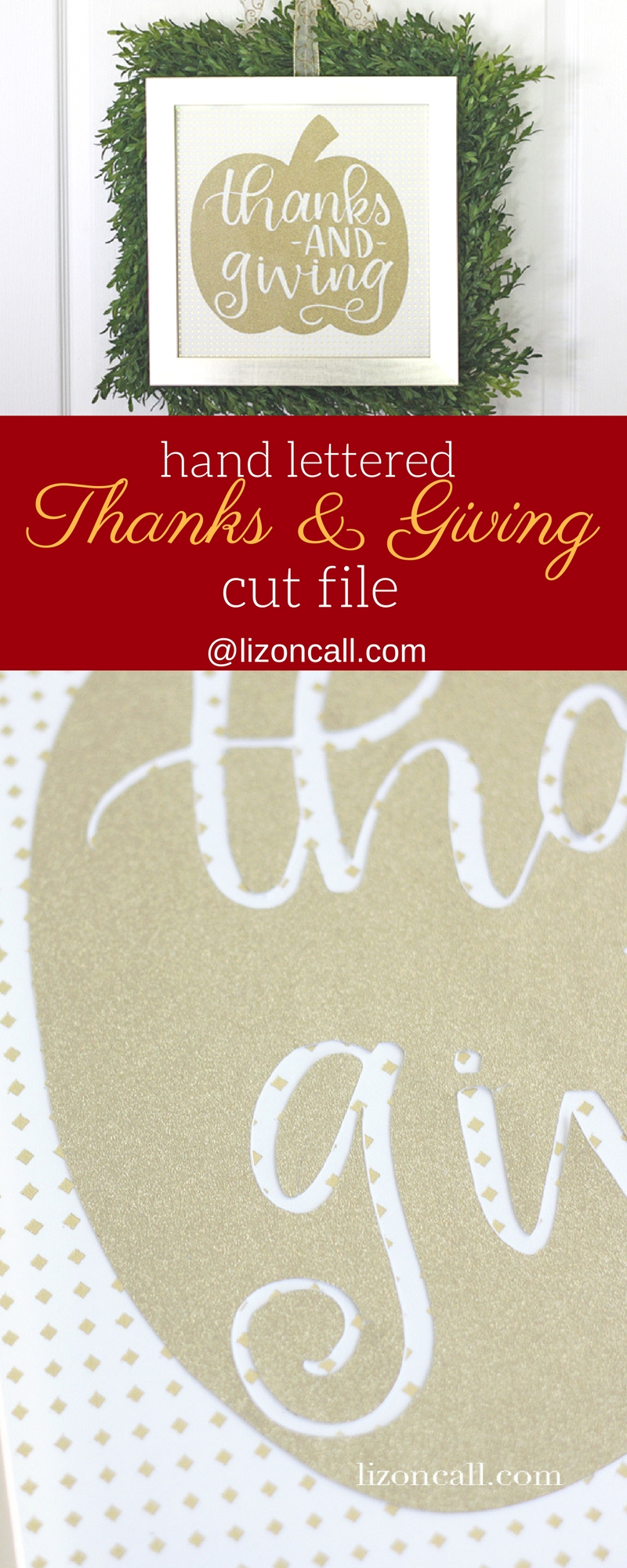 This hand lettered and hand drawn pumpkin cut file is great reminder to celebrate the fall season with both thanks and giving. #cutfile #svgfile #pumpkin #handlettered