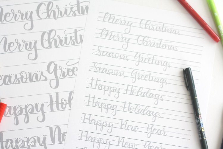 Get ready to letter all the holiday cards this year with these Christmas hand lettering practice sheets.