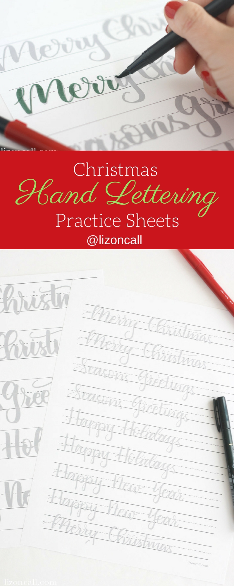 Get ready to letter all the holiday cards this year with these Christmas hand lettering practice sheets. #christmas #handlettering #handletteringpractice #brushlettering #practicesheets