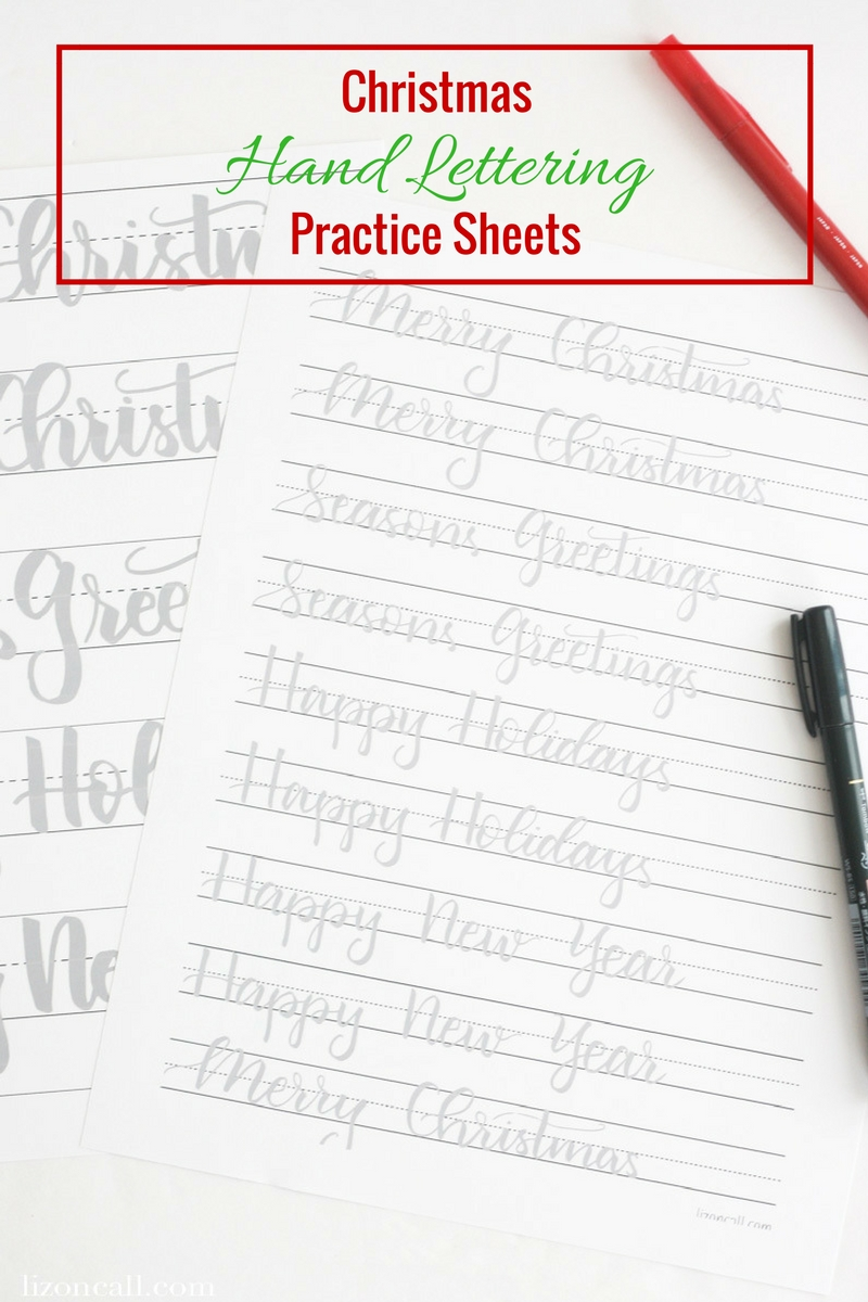Get ready to letter all the holiday cards this year with these Christmas hand lettering practice sheets. #christmas #handlettering #practicesheets