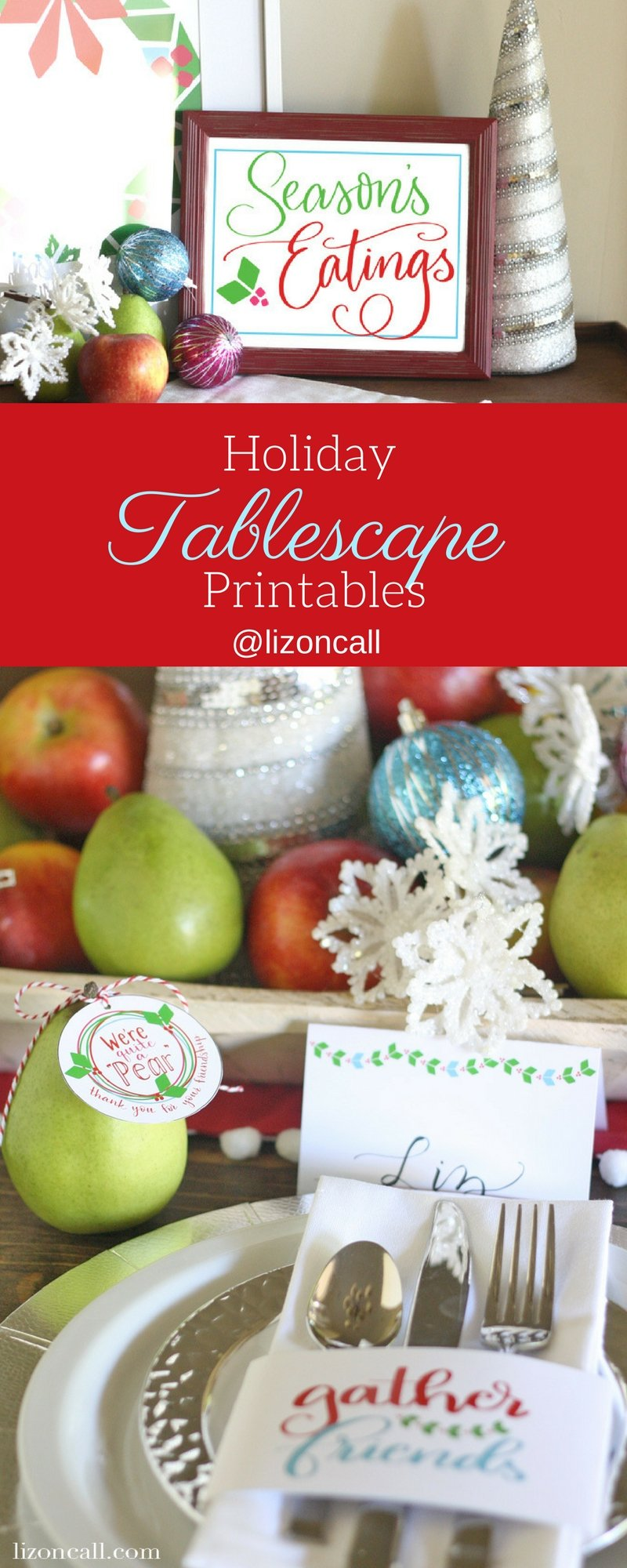 Whether you're hosting friends or family this year for the holidays, set your table with these bright and fun holiday tablescape printables. #christmas #freeprintables #christmastablescape #holidayprintables #holidaytablescape