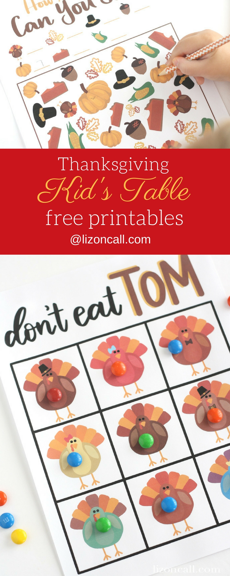 Keep those little ones entertained while you're busy in the kitchen getting all the food ready with these Thanksgiving kid's table printables. #thanksgiving #kidstable