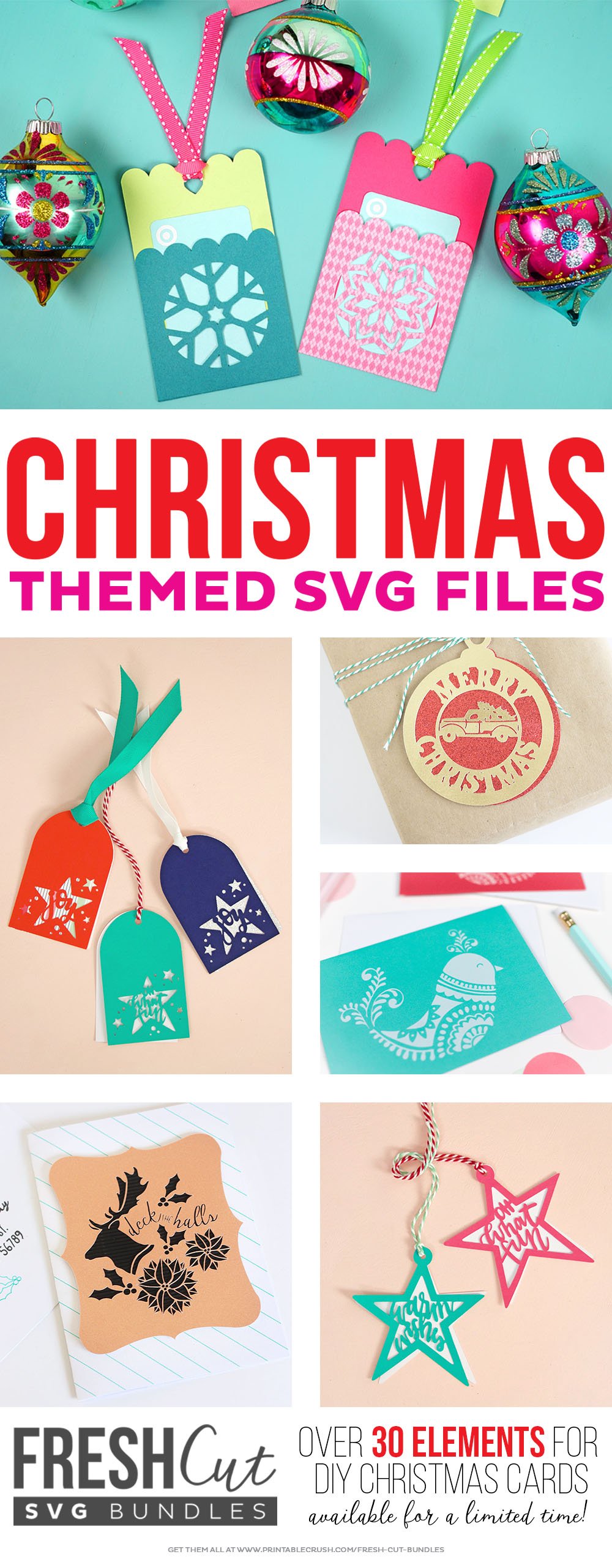 Christmas gift tags and cards svg cut files. Over 30 elements to create unique gift tags for your friends and family.